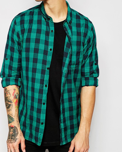Greenish Blue and Black Checked Flannel Shirt