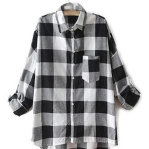 Lazy Boyfriend Grey Black Checkered Shirt