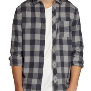 Ashen Grey Fuzzy Checks Long Sleeves Shirt