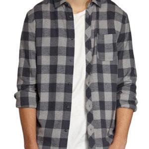 Ashen Grey Fuzzy Checks Long Sleeves Shirt