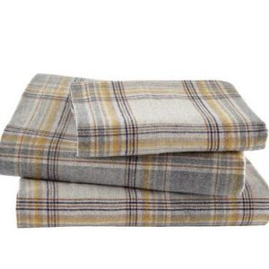 Ashen Sunshine Checked Flannel Bed Sheet