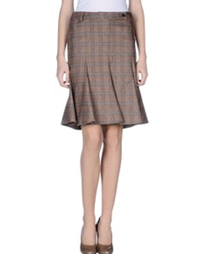 Auburn Sway Pleat Check Flannel Skirt