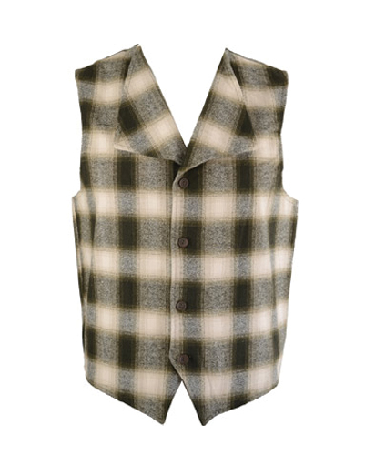Beige and Brown Checked Flannel Vest for Men