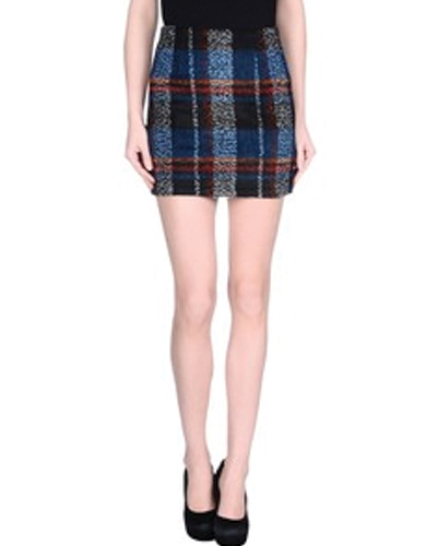 Black and Blue Dazzle Pencil Flannel Skirt
