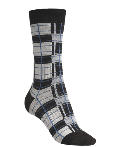 Black and Grey Soft Taped Check Socks