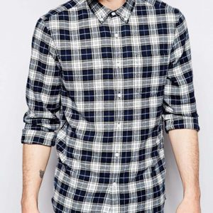 Black and White Checked Flannel Shirt