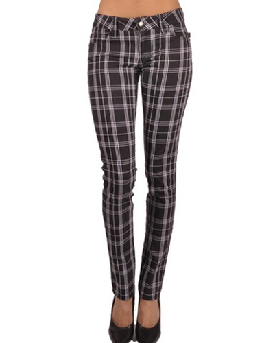 Black and White Drainpipe Flannel Pants