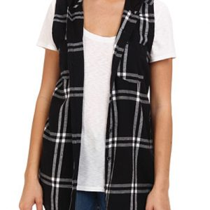 Black Checked Flannel Long Shirt
