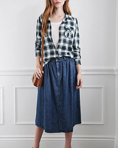 Black Checked Relaxed Fit Flannel Shirt for Women