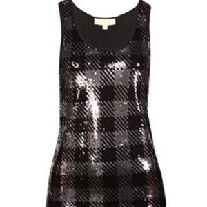 Black Checked Shine Vest for Ladies