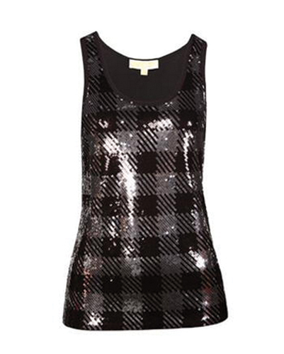 Black Checked Shine Vest for Ladies