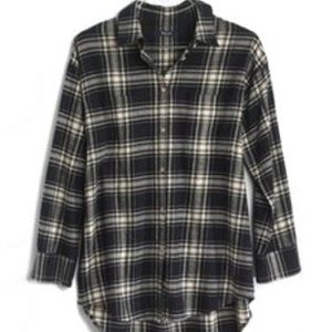 Black Checkered Flannel Shirt for Ladies