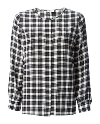 Black Checkered Flannel Top for Women