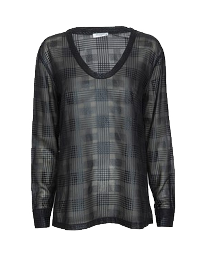 Black Checkered Party Top