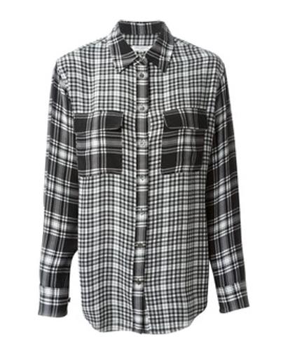 Black Mixed Checks Flannel Shirt