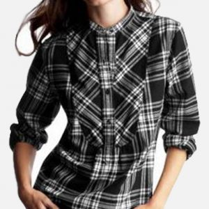 Black Rotated Tartan Ladies Top
