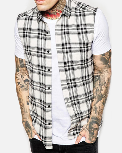 Black Tartan Print Sleeveless Shirt