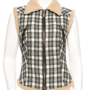 Black & White Fur-lined Vest for Ladies
