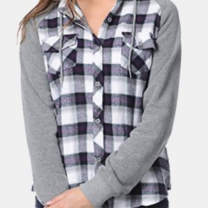 Blending Black Hooded Cool Flannel Shirt