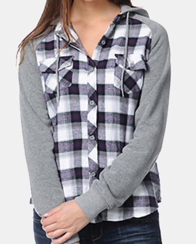 Blending Black Hooded Cool Flannel Shirt