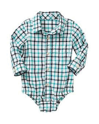 Bliss Blue Buttoned Up Flannel Bodysuit