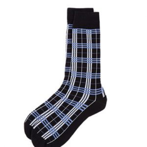 Blue and Black Check Socks