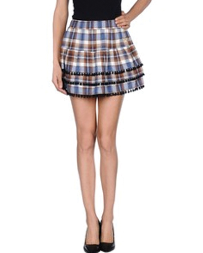 Blue and Black Soft Tassel Check Flannel Skirt