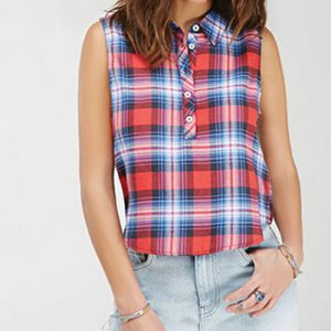 Blue and Pink Flannel Top
