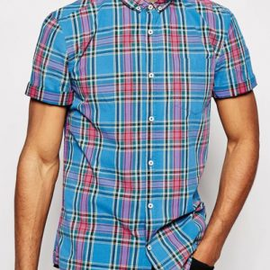 Blue and Pink Men's Shirt