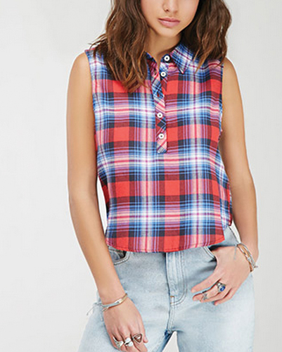 Wholesale Blue and Red Flannel Top