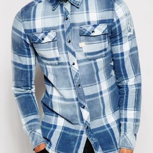 Blue and White Bold Checked Flannel Shirt