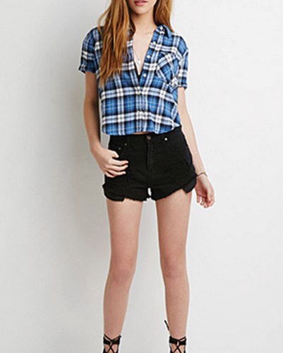 Blue and White Crop Checked Flannel Blouse