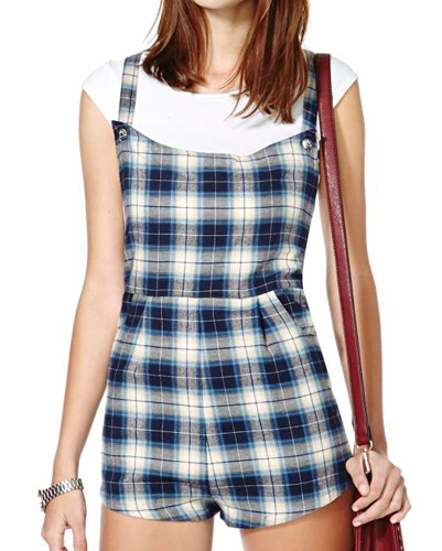 Blue and White Hot Pant Flannel Jumpsuit