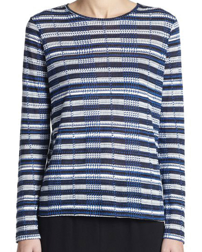 Blue and White Knitted Top