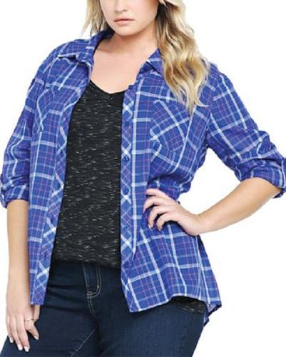 Blue Berry Designer Oversized Flannel Shirt