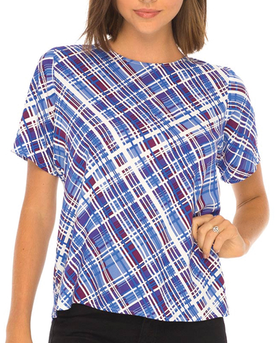 Blue Busy Checked Tee