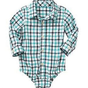 Blue Checked Diaper Shirt