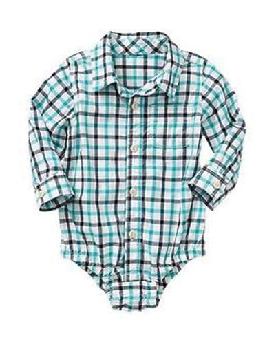 Blue Checked Diaper Shirt