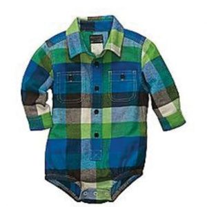 Blue Green Checked Diaper Shirt
