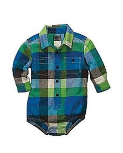 Blue Green Checked Diaper Shirt