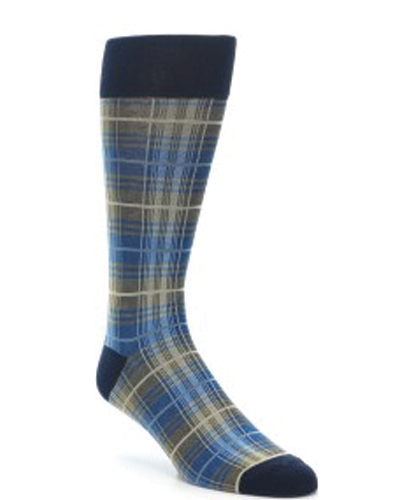 Blue, Grey and White Tweed Check Socks