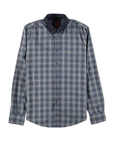 Blue Grey Checked Designer Flannel Shirt