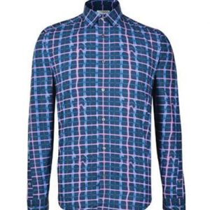 Blue Irregular Tatterstall Designer Flannel Shirt