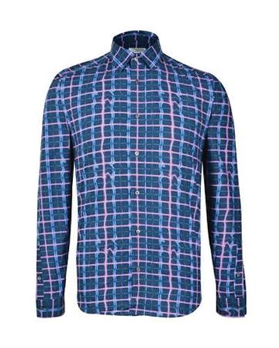 Blue Irregular Tatterstall Designer Flannel Shirt