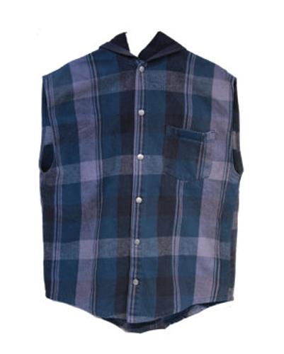 Blue Madras Checked Sleeveless Vest