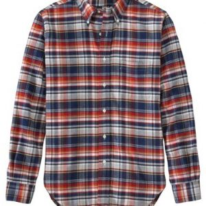 Blue, Red and White Bold Check Flannel Shirt