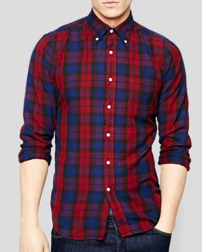 Blue Red Plaid Shirt for Men