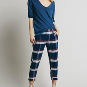Blue Relaxing Crop Pants