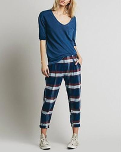 Blue Relaxing Crop Pants