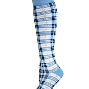 Blue, White and Black Ladder Check Socks